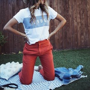 Sincerely Jules red cropped Kennedy pants linen
